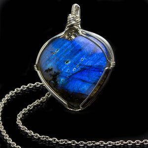 Silver Heart Shaped Labradorite Pendant