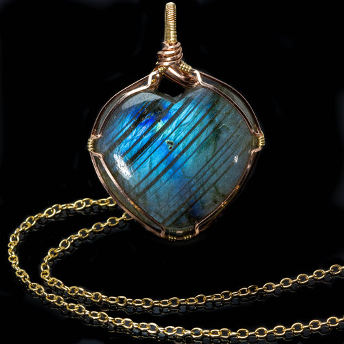 Gold Heart Shaped Labradorite Pendant