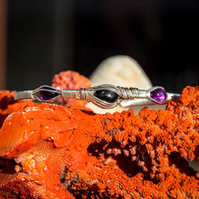 Load image into Gallery viewer, Black Start Diopside and Amethyst Bracelet