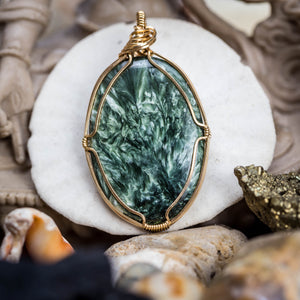 Seraphinite And Gold Pendant