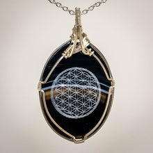 Load image into Gallery viewer, Laser Engraved Tuxedo Agate Pendant