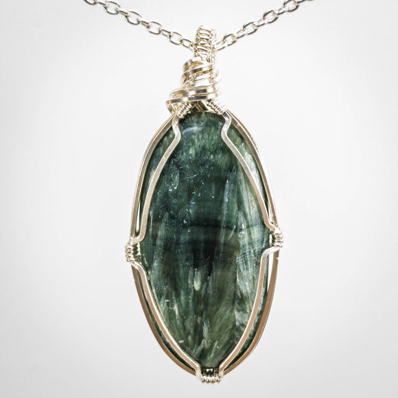 Seraphinite and Sterling Pendant