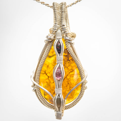 Amber and Tourmaline Pendant