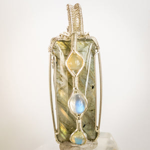 Labradorite, Opal And Rainbow Moonstone Pendant