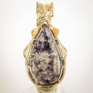 Charoite, Opal, and Rainbow Moonstone pendant