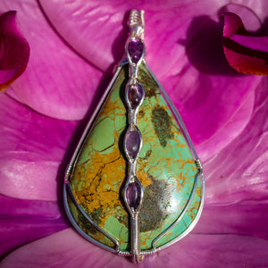Turquoise and Amethyst Pendant