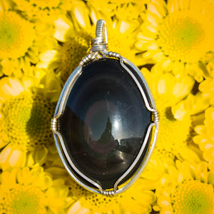 Rainbow Obsidian and Sterling Pendant