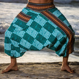 Handmade Harem Pants - Green and White