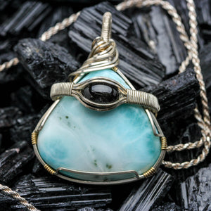 Larimar and Black Star Diopside Pendant