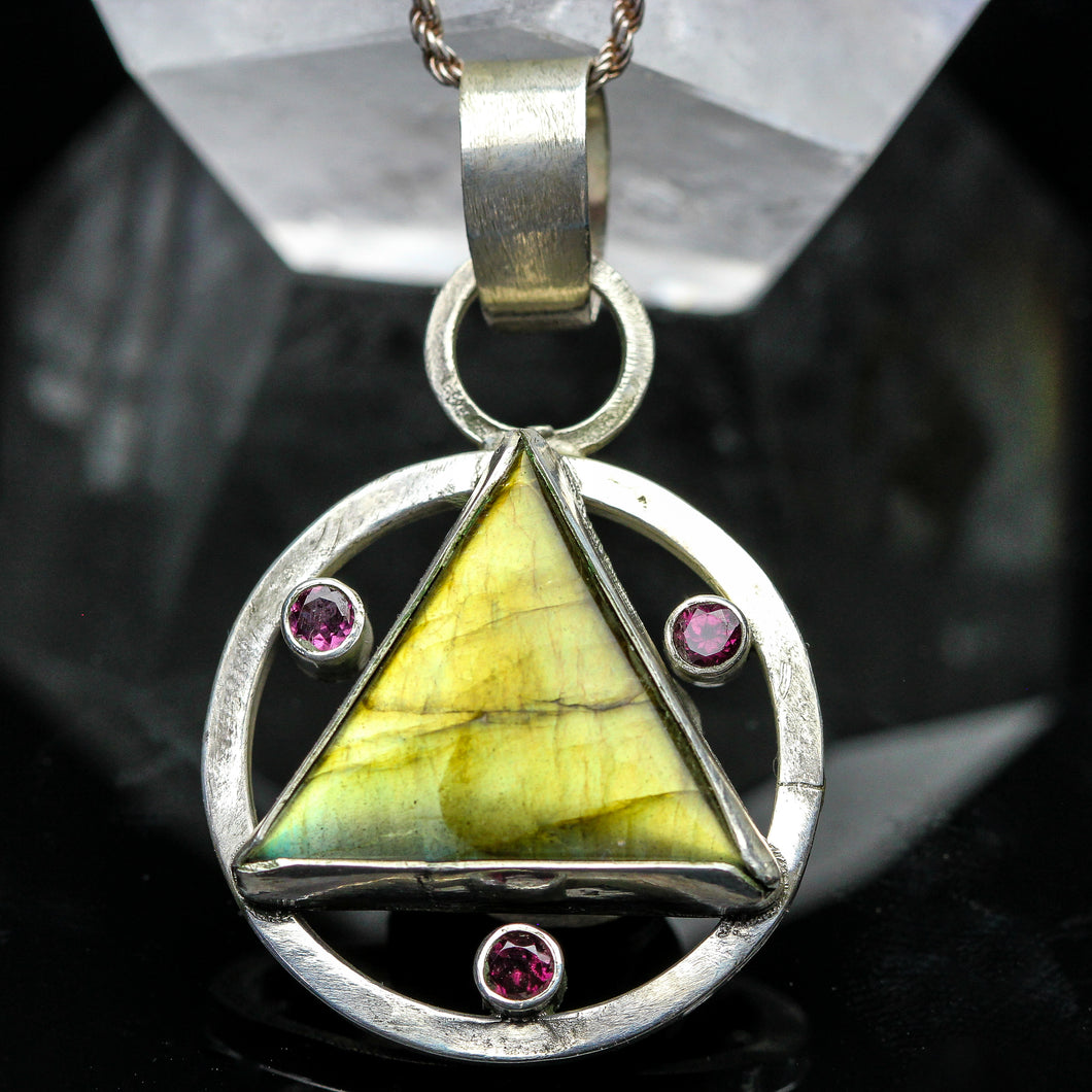 Triforce: Labradorite and Amethyst Pendant