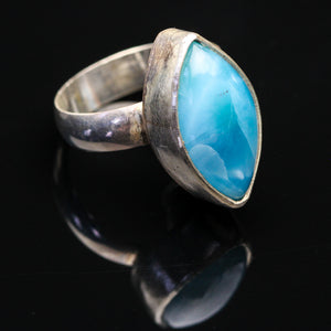 Ocean Baby: Larimar and Sterling Ring- Size 6