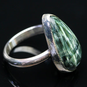 Seraphinite and Sterling Ring- Size 6.5