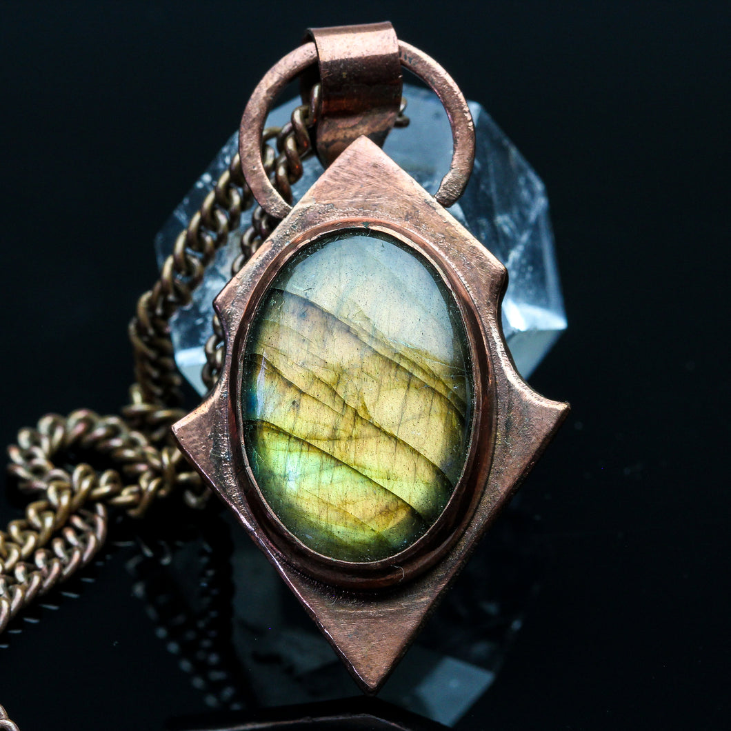 Fire and Ice: Labradorite and Copper Pendant