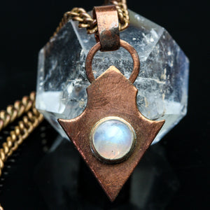 Rainbow Moonstone and Copper Pendant