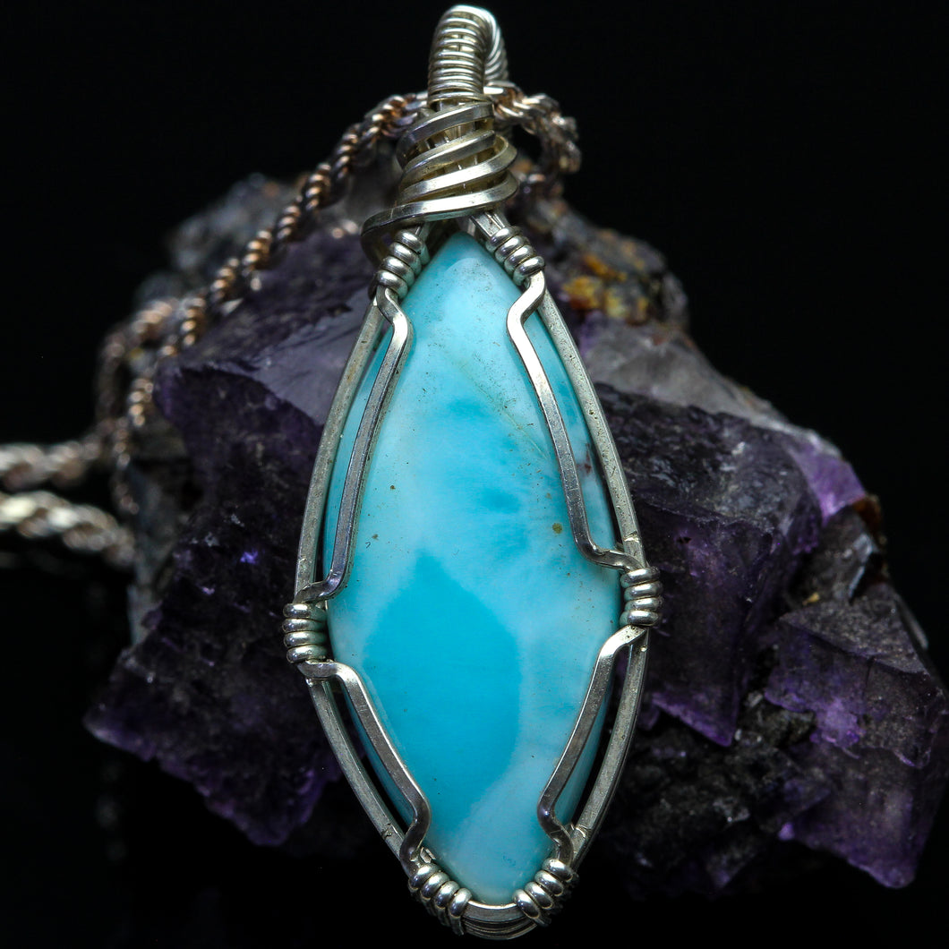 Waterfall: Larimar and Sterling Silver Necklace