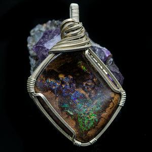 Boulder Opal and Sterling Pendant