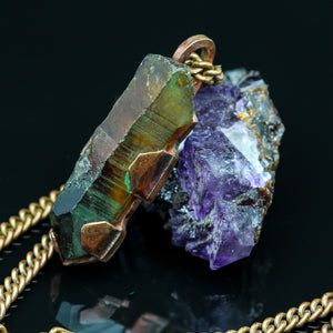 Raw Citrine and Copper Pendant