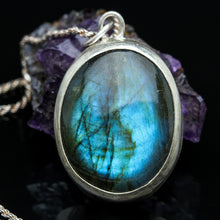 Load image into Gallery viewer, Breathe: Labradorite and Sterling Necklace