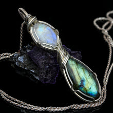Load image into Gallery viewer, Labradorite and Rainbow Moonstone Pendant
