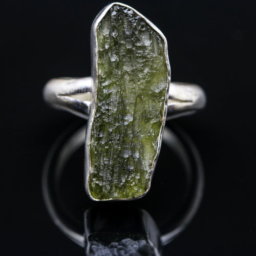 Moldavite and Sterling Ring- Size 7.5