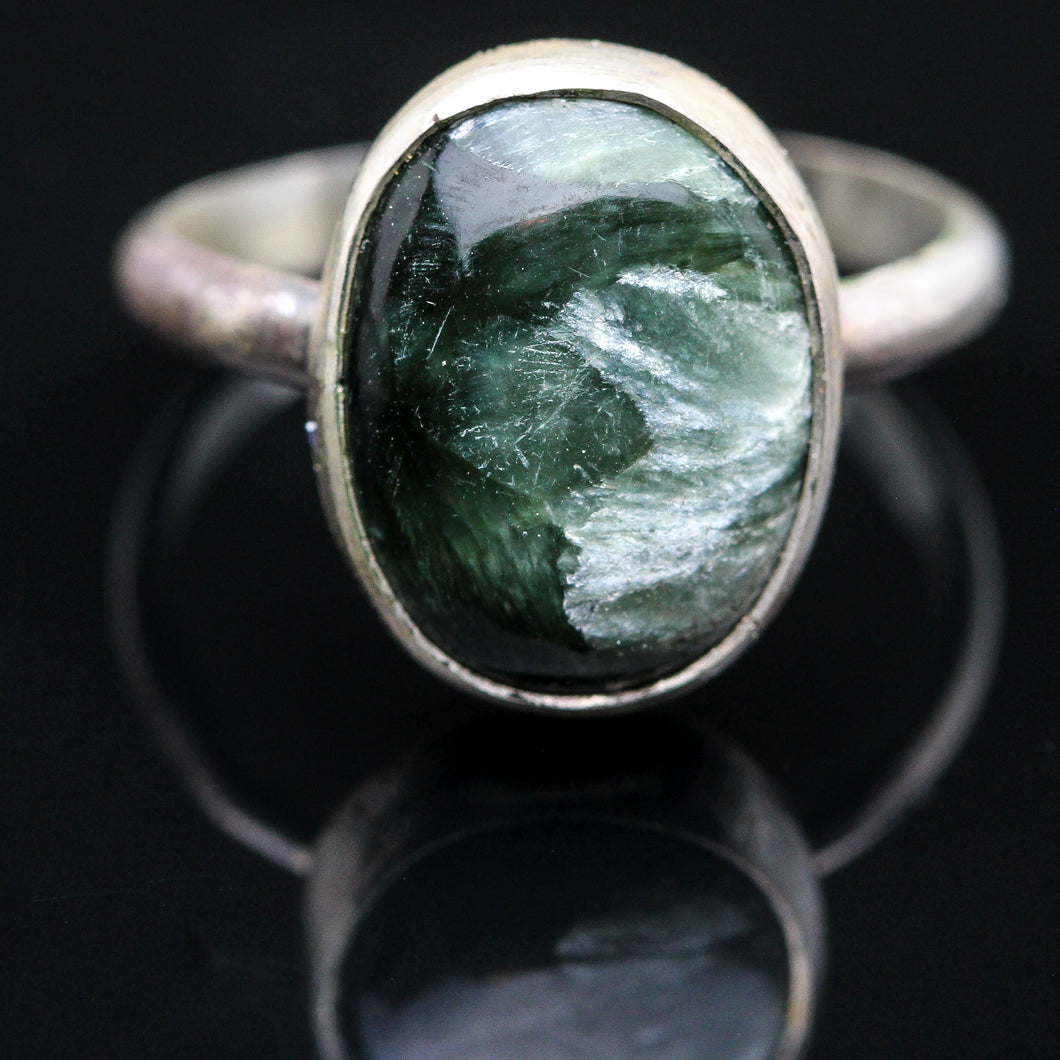 Eye of God: Seraphinite  Ring- Size 6.5
