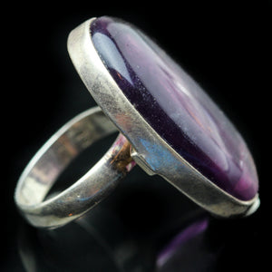 Fluorite and Sterling Ring- Size 7