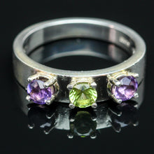 Load image into Gallery viewer, Peridot and Amethyst Ring- Size 6.5