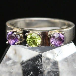 Peridot and Amethyst Ring- Size 6.5
