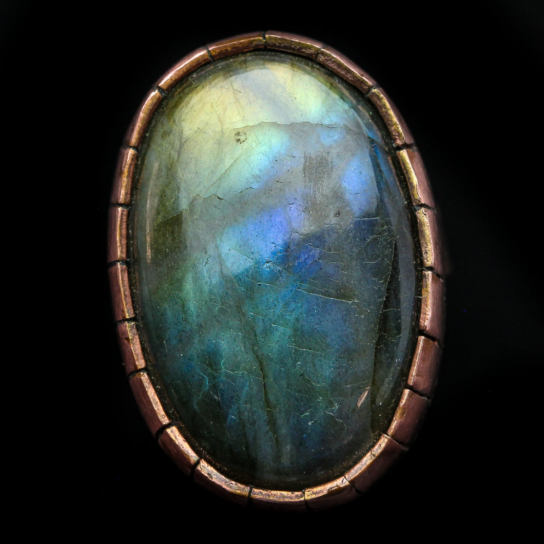 The Fountain: Labradorite and  Copper Ring- Size 7