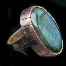 Load image into Gallery viewer, The Fountain: Labradorite and  Copper Ring- Size 7