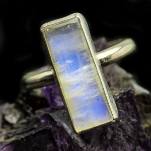 Rainbow Moonstone  Ring- Size 5.5