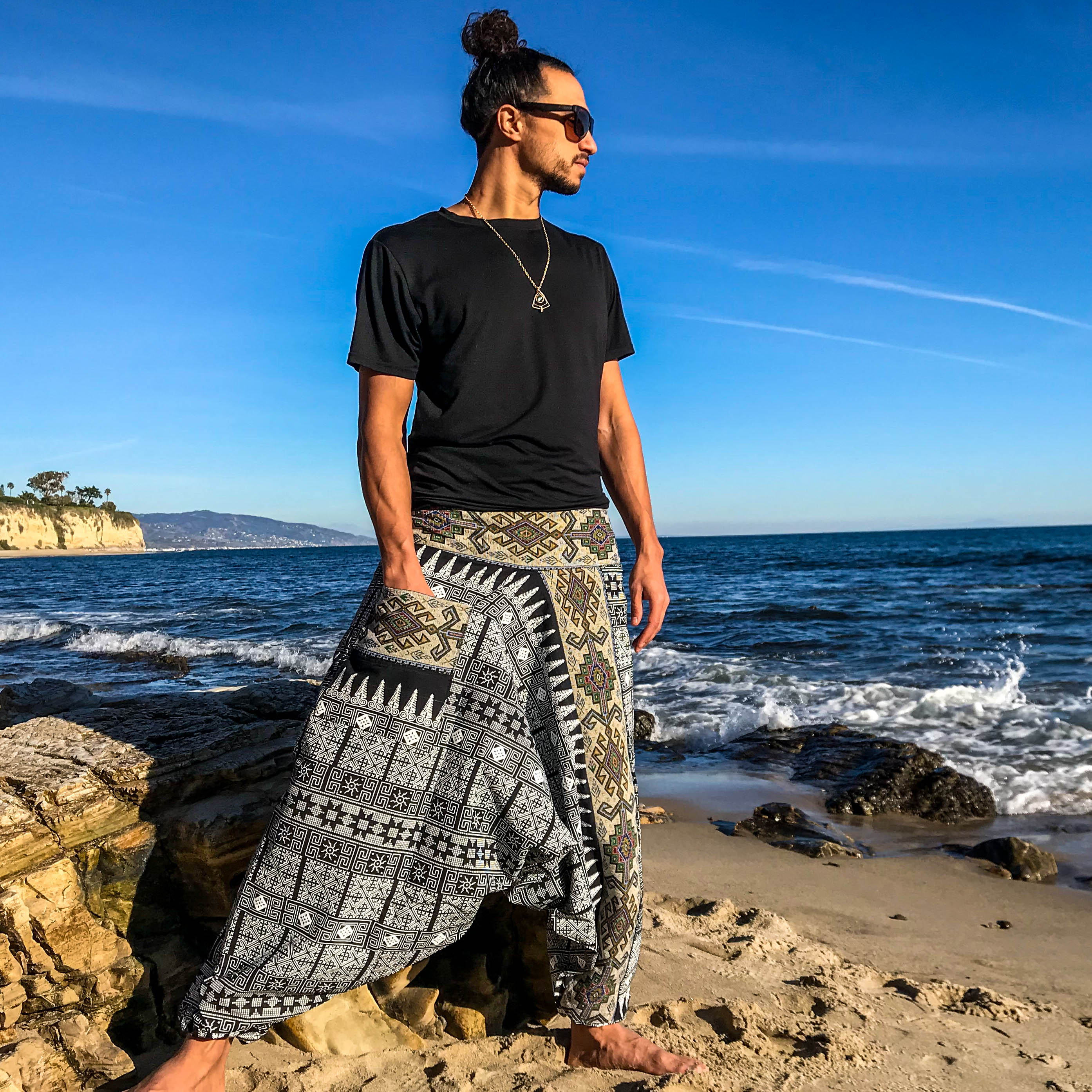 Handmade Harem Pants - Black on White Tribal