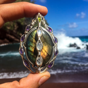 Labradorite, Amethyst and Rainbow Moonstone Pendant