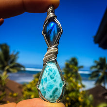 Load image into Gallery viewer, Larimar and Labradorite Pendant