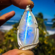 Load image into Gallery viewer, Rainbow Moonstone and Sterling Pendant