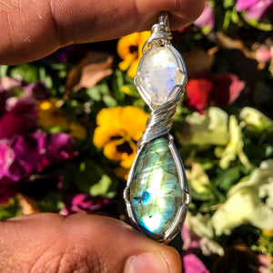 Labradorite and Rainbow Moonstone Pendant