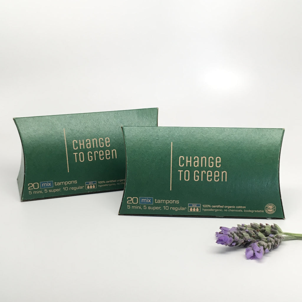 Change to Green Organic Tampons 20 Mix Pack