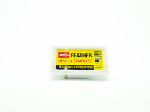 FEATHER: PLATINUM COATED DOUBLE EDGED RAZOR BLADES (5 BLADES)