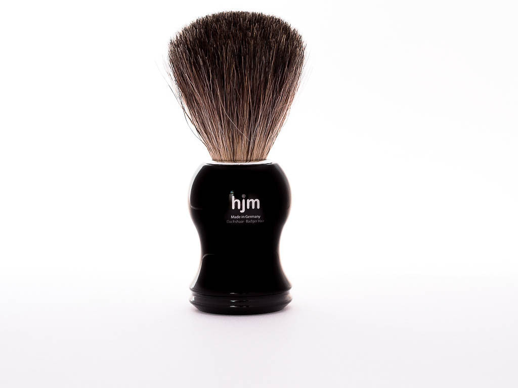 MUHLE: HJM P 3 S SHAVING BRUSH, PURE BADGER, BLACK HANDLE