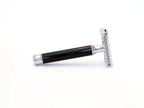 MUHLE: R101 OPEN COMB SAFETY RAZOR, BLACK RESIN HANDLE