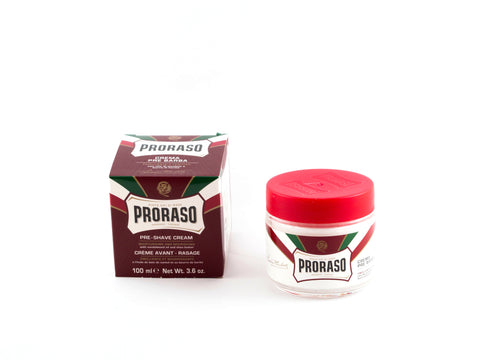 PRORASO: PRE-SHAVE CREAM RED / SANDALWOOD OIL AND SHEA BUTTER