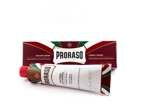 PRORASO: RED / SANDALWOOD OIL AND SHEA BUTTER SHAVING CREAM, 150ML