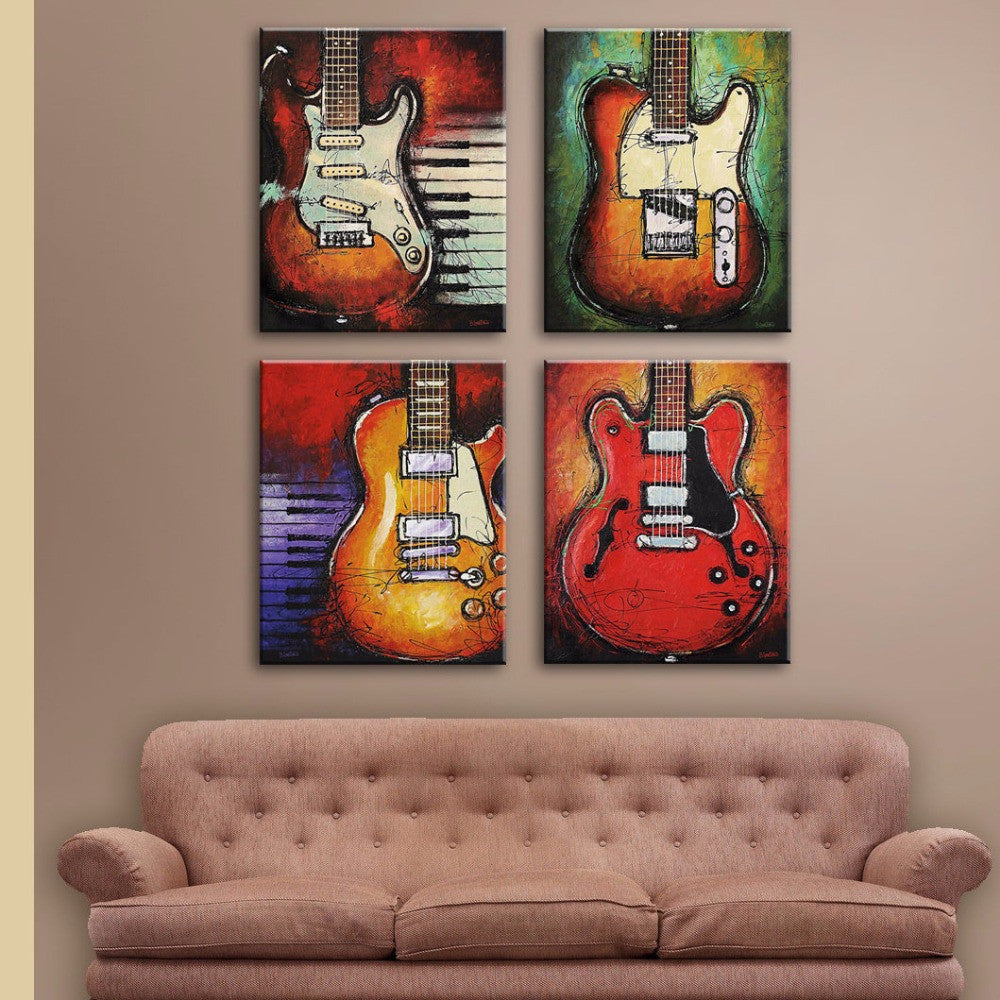 Charmant ... 4 Piece Guitar Canvas Wall Art ...