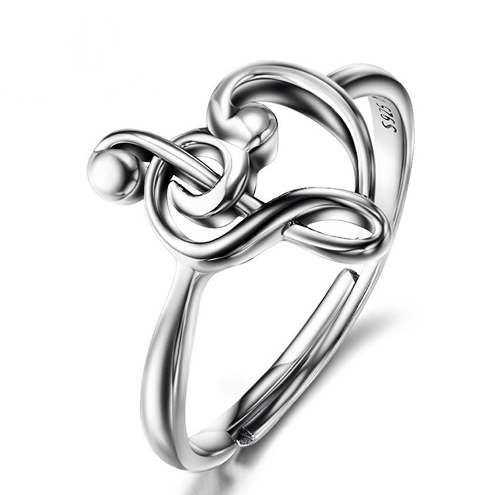925 Sterling Silver Treble Clef Heart Music Ring