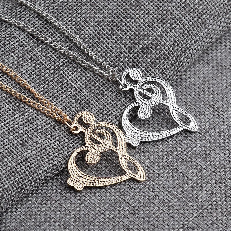 Heart shaped musical note pendant necklace bluegorillainc heart shaped musical note pendant necklace aloadofball Choice Image