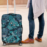 Blue Sugar Skull Luggage Protector Cover