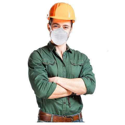worker wearing a dust mask