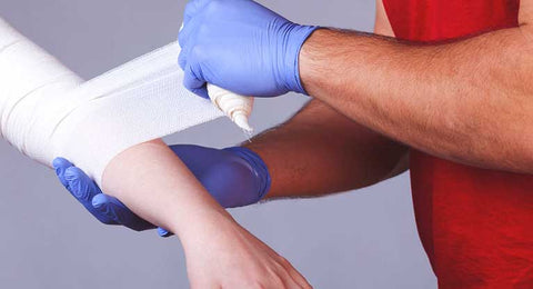 Disposable gloves. First aid for cuts and scrapes