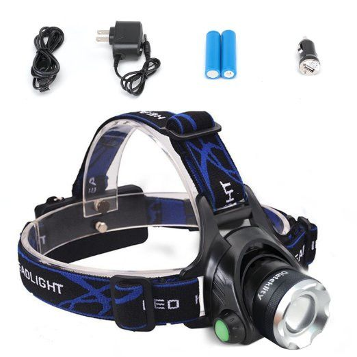 5000Lumen Bright 3 CREE XM-L XML T6 LED Headlamp,Waterproof Flashlight Torch 4 Modes Headlight With Rechargeable Batteries For Hiking Camping Outdoor Riding Night Fishing Hunting Running Night Riding