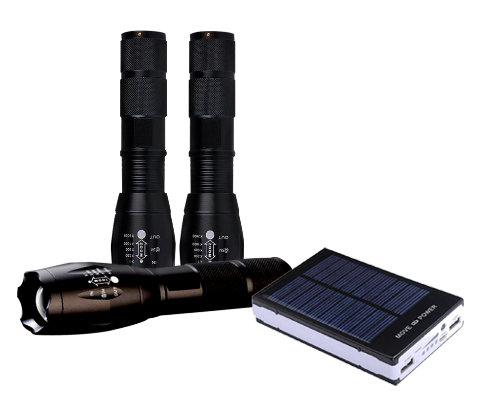 BUY 2 LED FLASHLIGHTS - GET A LED FLASHLIGHT AND A 8000mAh Solar Charger Free